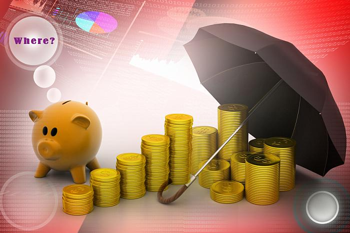 kozzi-piggy bank with gold coins and umbrella-883x588
